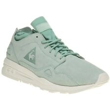 New Womens Le Coq Sportif Green Flow Suede Trainers Retro Lace Up