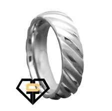 8MM Titanium Silver Slanted Groove Comfort Fit Mens Wedding Engagement Band Ring