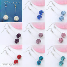 2x Resin Crystal Dangle Round Disco Bead Women Hook Earring Eardrop Piercing 22G