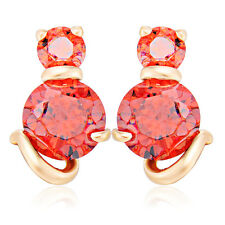 Gold Filled Cat White/Red Crystal Fashion Jewelry Stud Earrings Freeshipping