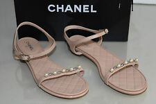 New 16 C Chanel PEARLS Chain NUDE PINK CC Flats Silver heel Flat Sandals Shoes