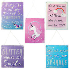 Large Metal Unicorn Hanging Signs Rainbow Sparkle Glitter Pink Fantasy Plaques
