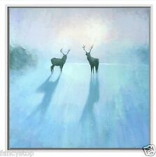 "24""x24"" Blue Hand-painted Animal Wild deer couple oil painting on canvas S95"