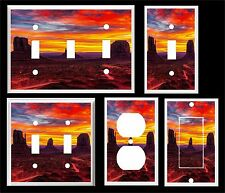 SUNSET IN MONUMENT VALLEY UTAH AT SUNSET LIGHT SWITCH COVER PLATE
