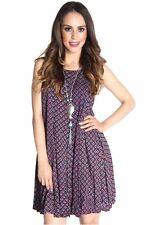 121AVENUE Stunning Printed Back Tie Dress S Small Women Burgundy Cocktail