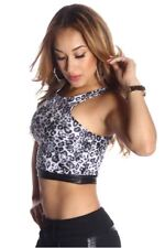 121AVENUE Sexy Animal Print Crop Top M Medium Women Gray Evening, Occasion