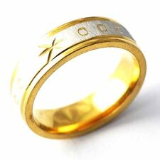 yellow Gold Plated Carving Pattern Mens couple Fashion Ring Size 8,9,10,11,12