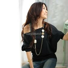 Sexy Women Trendy OFF-Shoulder Cotton Tops T-Shirt Buttons Blouse RLWH