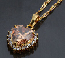Zircon Heart Pendant Gold Filled 9k Love Two Colors Girls No Chain