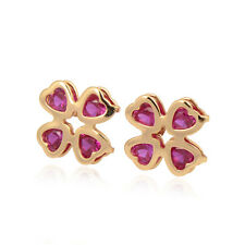 Delicate Clover 18K yellow Gold Filled Colorful Heart Zirconia Stud Earring