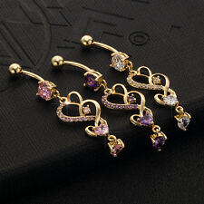 crystal Heart Dangle Helix Belly Ring Piercing Navel Nail Sexy Body Jewelry
