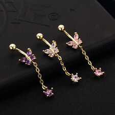 Butterfly Star Dangle crystal Helix Belly Ring Piercing Body Jewelry Delicate