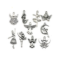Mixed Antique Silver Plated Angel Wings Music Key Charms Pendant Fit Bracelet