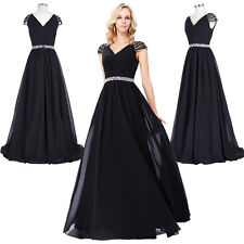 Cap Sleeve V-Neck Beaded Chiffon Long Ball Gown Evening Prom Party Dresses Black
