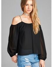 Open Cold Shoulder Blouse Top New S M L Black Sexy Spring Summer