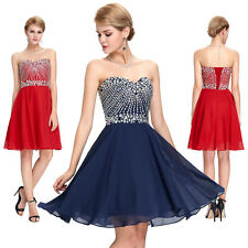 Grace Karin Strapless Sweetheart Chiffon Beaded Short Cocktail Party Prom Dress