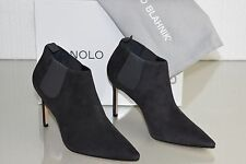 $1055 New Manolo Blahnik LINUSPLA 90 Suede Ankle Bootie Boots Shoes Grey 36 36.5