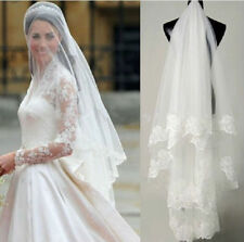 Lace edge white ivory bride veil round wedding veil accessories 1 layer