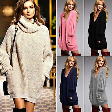 Oversize Women Chunky Knit Jumper Pocket Loose Pullover Sweater Jumper Dress