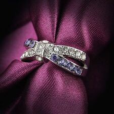 Criss Cross New Purple Amethyst Rings Jewelry 6-10 Size Ring White Gold Filled