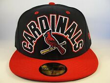 MLB St Louis Cardinals New Era 59FIFTY Fitted Hat Cap Big Word Navy Red