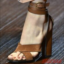 Womens Nubuck Leather Strap Cross Chunky High Heels Roman Sandals Pump Shoes New