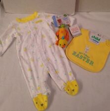 NWT Carters Baby Girl Boy First Easter Footed Sleeper Bib Chime Toy Gift Lot