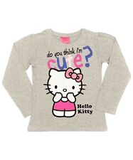 Girls Grey Hello Kitty Long Sleeve Top ~ Ages 4/5 - 8/9