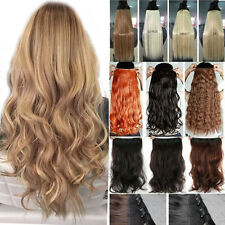 One Piece Ombre Clip In Hair Extensions 3/4 Full Head Brown Blonde Human Hair NE