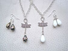 DRAGONFLY GLASS TEARDROP Bead SP Chain Necklace Earrings Set Blue White Art Deco