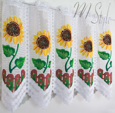 Kitchen White Cafe Net Curtain Sunflowers Price Per Metre