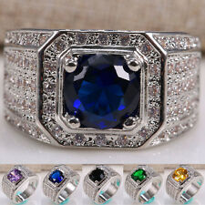 Women Men 925 Silver Natural 2.8CT Tanzanite Emerald Amethyst Ring Size 6-12