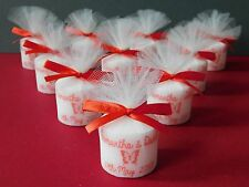 Personalised Votive Candle Wedding Favours Red Satin Ribbon (Set of 10 )