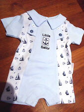 DREAM BABY BOYS WHITE LITTLE ANCHOR  ROMPER  NEWBORN 0-3 3-6  MONTHS
