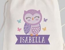 Bright Star Kids Personalised Reusable Library Drawstring or Tote Bag - Cute Owl