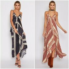 Womens Celeb Sexy V Neck Boho Long Maxi Dress Summer Beach Party SunDress Lot