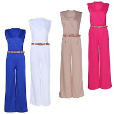 Womens V-neck Rompers Jumpsuit Harem Wide-leg Pants Trousers with Belt Casual