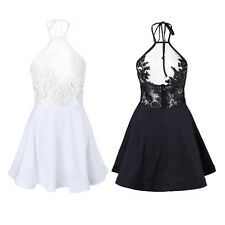 Summer Women Ladies Mesh Sleeveless Embroidered Evening Party Dress Cocktail