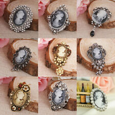 Classics Women Vintage Crystal Rhinestone Cameo Brooch Pin Pendant Party Jewelry
