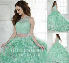 New Sweet 16 Two Pieces Mint Quinceanera Dresses Wedding Prom Ball Gown Custom