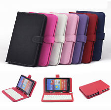 "Micro USB Keyboard PU Leather Stand Case For 7""8""9""10"" inch Tablet Cover Cell"
