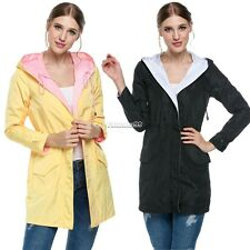 Women Long Sleeve Hooded Trench Coat Drawstring Waist Outwear Jacket New FT
