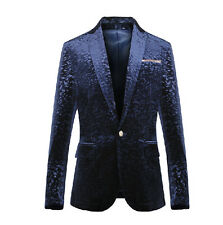 Mens Luxury Pleuche One Button Slim Fit Coats Blazers Suit Wedding Dress Jackets