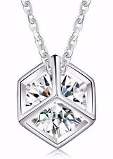 ORSA Square Box with AAA Cubic Zirconia Pendant Necklace FAST DELIVERY