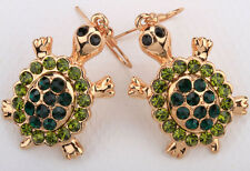 Turtle dangle earrings animal bling crystal fashion jewelry gifts for women EA04