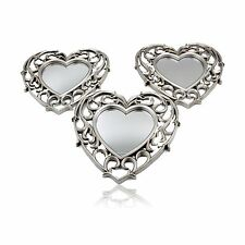 Heart Wall Hanging Mirror Shabby Vintage Chic Antique Silver Lightweight Frame