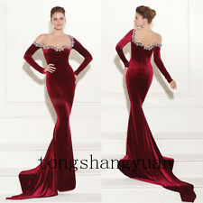 Mermaid Long Sleeve Prom Dress For Lady Formal Evening Gowns Velvet Pageant 2017