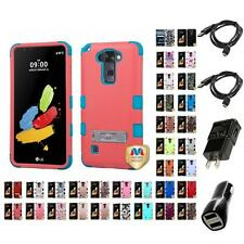 For LG Stylo 2 V VS835 Hybrid TUFF IMPACT Phone Case Hard Rugged Cover Chargers