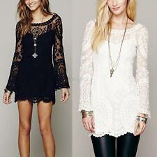 Trendy Women Long Sleeve Casual Sheer Lace Embroidery Floral Mini Beach Dresses
