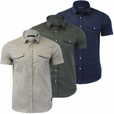 Mens Tich Button T Shirt Brave Soul 'ROMEO' Short Sleeve Collared Casual UK SIZE